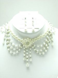Cream Bead Choker and Earring Set